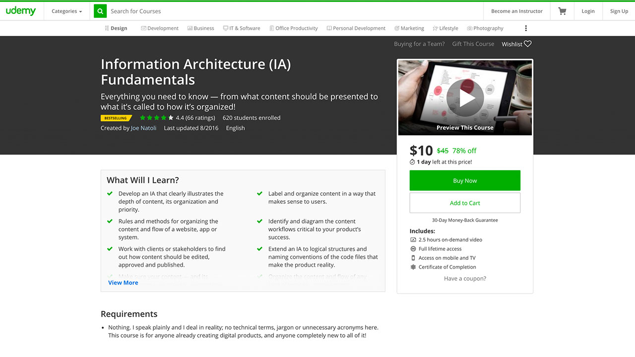 Udemy information architecture course