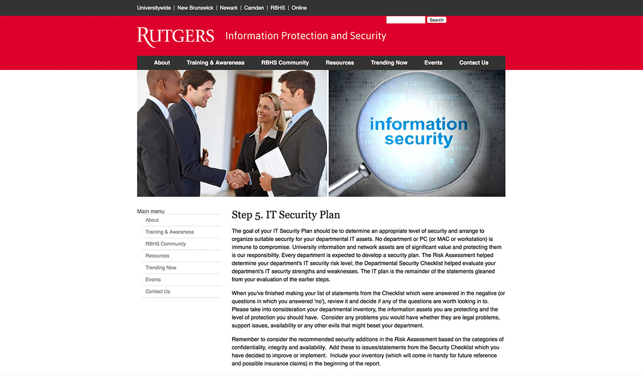 RUTERS IT Security Plan