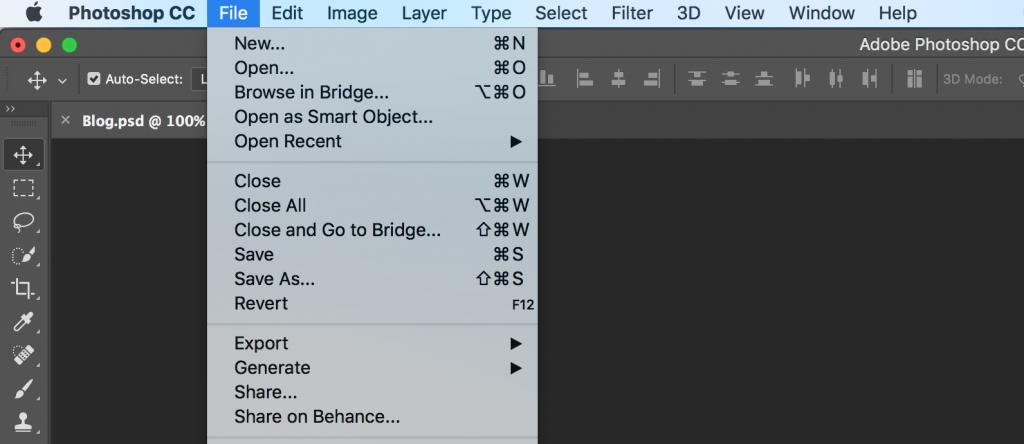 photoshop command menu